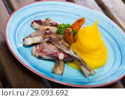Купить «Dish of norwegian cuisine of lamb rib with mashed potato served at plate», фото № 29093692, снято 22 января 2019 г. (c) Яков Филимонов / Фотобанк Лори