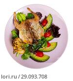 Купить «Image of quail-tobacco with sesame which served with salad of avocado and greenery», фото № 29093708, снято 19 сентября 2018 г. (c) Яков Филимонов / Фотобанк Лори