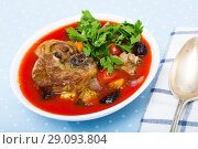 Купить «Spicy tomato soup with lamb, prunes and dried apricots», фото № 29093804, снято 16 августа 2018 г. (c) Яков Филимонов / Фотобанк Лори