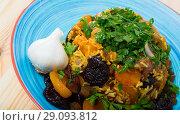 Купить «Pilaf from lamb, prunes, dried apricots», фото № 29093812, снято 16 августа 2018 г. (c) Яков Филимонов / Фотобанк Лори