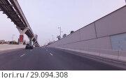 Купить «Elevated Railway of Palm Jumeirah Monorail on artificial archipelago Palm Jumeirah stock footage video», видеоролик № 29094308, снято 4 апреля 2018 г. (c) Юлия Машкова / Фотобанк Лори