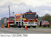 Купить «Salo, Finland. September 14, 2018. Fire destroys 5,000 square meters of production and office spaces of Finnish Candle manufacturer Kynttila-Tuote Oy....», фото № 29094784, снято 14 сентября 2018 г. (c) age Fotostock / Фотобанк Лори