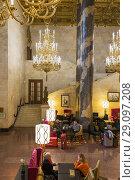 Купить «Hilton Moscow Leningradskaya hotel interior, Moscow, Russia.», фото № 29097208, снято 17 апреля 2016 г. (c) age Fotostock / Фотобанк Лори