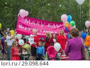 Купить «Группа женщин рекламируют торговую марку американской компании Mary Kay», фото № 29098644, снято 25 августа 2018 г. (c) Геннадий Соловьев / Фотобанк Лори