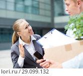 Купить «Angry businesswoman is chastising the employee», фото № 29099132, снято 15 июля 2017 г. (c) Яков Филимонов / Фотобанк Лори