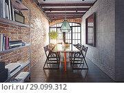 Купить «modern dining room loft interior.», фото № 29099312, снято 20 октября 2018 г. (c) Виктор Застольский / Фотобанк Лори
