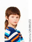 Купить «Caucasian seven years old boy, isolated on white», фото № 29099672, снято 15 апреля 2017 г. (c) Сергей Новиков / Фотобанк Лори