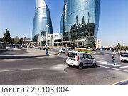 Купить «Автомобильный перекресток возле Огненных Башен. Баку. Азербайджан», фото № 29103004, снято 23 сентября 2017 г. (c) Евгений Ткачёв / Фотобанк Лори