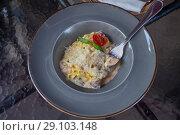 Купить «Феттучини с грибами в сливочном соусе», фото № 29103148, снято 15 сентября 2018 г. (c) Татьяна Белова / Фотобанк Лори
