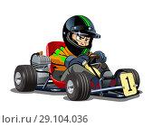 Купить «Cartoon kart racer isolated on white background», иллюстрация № 29104036 (c) Александр Володин / Фотобанк Лори