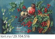 Купить «Старинная иностранная новогодняя открытка», фото № 29104516, снято 13 ноября 2019 г. (c) Retro / Фотобанк Лори