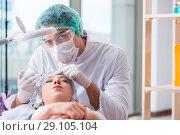 Купить «Woman visiting doctor for plastic surgery», фото № 29105104, снято 16 ноября 2017 г. (c) Elnur / Фотобанк Лори