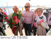 Купить «**SUPPORTING VIDEO AVAILABLE. CONTACT PIX@WENN.COM TO RECEIVE.** An 80-year-old Bulgarian sailor, Vasil Kurtev, has been welcomed home after sailing around...», фото № 29118052, снято 18 мая 2017 г. (c) age Fotostock / Фотобанк Лори