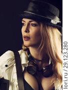 Купить «Sexy girl wearing steampunk costume on black», фото № 29123280, снято 13 апреля 2017 г. (c) katalinks / Фотобанк Лори