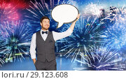 Купить «man in suit with blank text bubble over firework», фото № 29123608, снято 15 декабря 2017 г. (c) Syda Productions / Фотобанк Лори