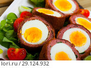 Купить «Meat stuffed eggs (Scotch egg)», фото № 29124932, снято 21 января 2020 г. (c) Яков Филимонов / Фотобанк Лори