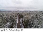 Купить «Снежный лес около Читы, панорама с коптера», фото № 29132644, снято 19 апреля 2018 г. (c) Геннадий Соловьев / Фотобанк Лори
