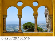 Купить «The arabian style arches on the terrace of the Pena Palace. Sintra. Portugal», фото № 29136516, снято 3 июля 2016 г. (c) Serg Zastavkin / Фотобанк Лори