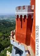 Купить «The view from the Pena palace over the surrounding area. Sintra. Portugal», фото № 29136520, снято 3 июля 2016 г. (c) Serg Zastavkin / Фотобанк Лори