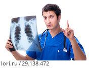 Купить «The radiologist doctor with x-ray image isolated on white», фото № 29138472, снято 6 июля 2018 г. (c) Elnur / Фотобанк Лори