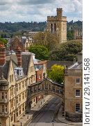 Купить «The view from the cupola of Sheldonian Theatre across the central Oxford. Oxford University. England», фото № 29141568, снято 15 мая 2009 г. (c) Serg Zastavkin / Фотобанк Лори