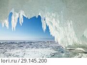 Купить «Baikal Lake in winter season. Many icicles in the arch of the ice grotto in the coastal rocks of Olkhon Island. Natural cold background», фото № 29145200, снято 6 марта 2011 г. (c) Виктория Катьянова / Фотобанк Лори