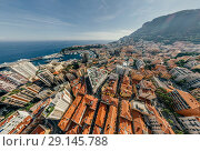 Купить «Mountains in Monaco Monte-Carlo city riviera Drone summer photo Air 360 vr virtual reality drone panorama», фото № 29145788, снято 9 сентября 2018 г. (c) Aleksejs Bergmanis / Фотобанк Лори