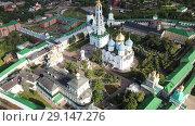 Купить «Aerial view of unique monastic complex of Trinity Lavra of St. Sergius, Sergiev Posad, Russia», видеоролик № 29147276, снято 28 июня 2018 г. (c) Яков Филимонов / Фотобанк Лори
