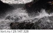 Купить «Бурный горный ручей», видеоролик № 29147328, снято 28 сентября 2018 г. (c) А. А. Пирагис / Фотобанк Лори