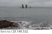 Купить «Камчатка, скалы Три Брата», видеоролик № 29148532, снято 9 сентября 2018 г. (c) А. А. Пирагис / Фотобанк Лори