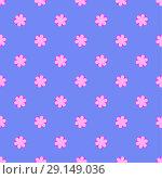 Flower vector pattern on the blue background. Стоковая иллюстрация, иллюстратор Helga Preiman / Фотобанк Лори