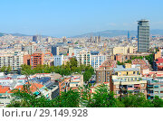 Купить «Живописный вид сверху на Барселону, Испания», фото № 29149928, снято 13 сентября 2018 г. (c) Ольга Коцюба / Фотобанк Лори