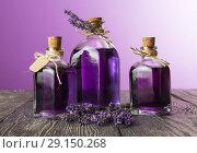 Купить «Three bottles with a fragrant tincture of lavender and fresh twigs on purple background», фото № 29150268, снято 20 июня 2018 г. (c) Сергей Молодиков / Фотобанк Лори