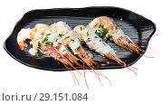 Купить «Cooked deliciously shrimps with parmesan cheese and greens at plate», фото № 29151084, снято 27 мая 2019 г. (c) Яков Филимонов / Фотобанк Лори