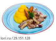 Купить «Dish of norwegian cuisine of lamb rib with mashed potato served at plate», фото № 29151128, снято 22 января 2019 г. (c) Яков Филимонов / Фотобанк Лори