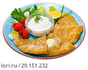 Купить «Potatoes pancakes and sour cream with vegetables at plate, top view», фото № 29151232, снято 21 ноября 2018 г. (c) Яков Филимонов / Фотобанк Лори