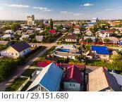 Купить «top view of one-story provincial city in Russia», фото № 29151680, снято 2 августа 2018 г. (c) Володина Ольга / Фотобанк Лори