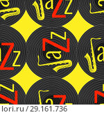 Купить «Jazz concept. Vinyl record and word Jazz. Letter J - saxophone. Seamless pattern. Red, black and yellow elements. Yellow background», иллюстрация № 29161736 (c) Юлия Фаранчук / Фотобанк Лори