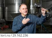 Купить «worker costs with wineglass», фото № 29162236, снято 12 октября 2016 г. (c) Яков Филимонов / Фотобанк Лори