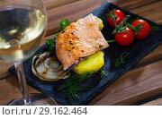 Slate with tender trout fillet, potatoes. Стоковое фото, фотограф Яков Филимонов / Фотобанк Лори
