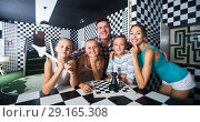 Купить «Portrait of family who is satisfied of visit of entertainment», фото № 29165308, снято 3 августа 2017 г. (c) Яков Филимонов / Фотобанк Лори