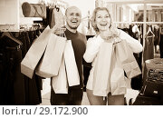 Купить «Mature spouses carrying bags with purchases», фото № 29172900, снято 19 октября 2018 г. (c) Яков Филимонов / Фотобанк Лори