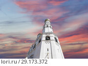 Купить «Ivan the Great Bell Tower (Kolokolnya Ivana Velikogo). Inside of Moscow Kremlin, Russia (day).», фото № 29173372, снято 11 мая 2018 г. (c) Владимир Журавлев / Фотобанк Лори