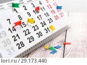 Купить «Отметки о мероприятиях на календаре. Деловой натюрморт», фото № 29173440, снято 13 сентября 2018 г. (c) Наталья Осипова / Фотобанк Лори