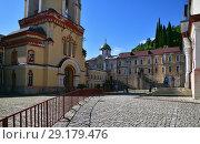Купить «New Athos, Abkhazia - June 3. 2018. courtyard in Novy Afonsky for men Monastery», фото № 29179476, снято 3 июня 2018 г. (c) Володина Ольга / Фотобанк Лори