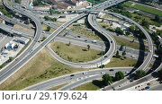 Купить «Aerial view of highway grade separation in Barcelona, Spain», видеоролик № 29179624, снято 23 июня 2018 г. (c) Яков Филимонов / Фотобанк Лори