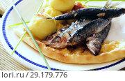Купить «Dish of tasty fried anchovy with potato croquettes and cake served on plate», видеоролик № 29179776, снято 19 сентября 2018 г. (c) Яков Филимонов / Фотобанк Лори
