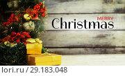 Купить «Merry Christmas text and Christmas decoration 4k», видеоролик № 29183048, снято 19 июля 2019 г. (c) Wavebreak Media / Фотобанк Лори