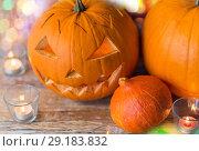 Купить «jack-o-lantern or carved halloween pumpkin», фото № 29183832, снято 18 сентября 2017 г. (c) Syda Productions / Фотобанк Лори