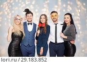 Купить «happy friends with party props posing», фото № 29183852, снято 3 марта 2018 г. (c) Syda Productions / Фотобанк Лори
